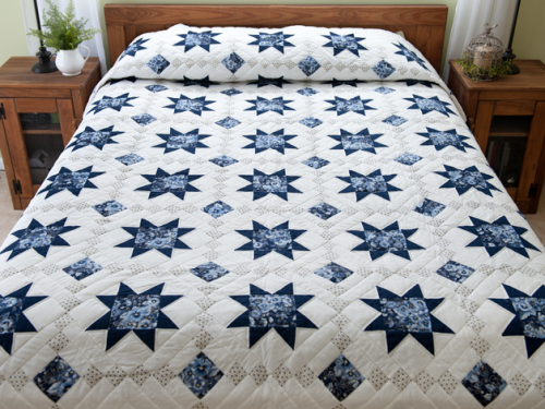 Navy Floral Cross Country Quilt