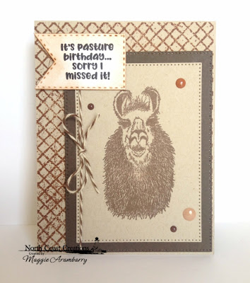 North Coast Creations Stamp Set: Llama Tell You ODBD Custom Dies: Pierced Rectangles, Double Stitched Pennant Flags, ODBD Stamp Set:  Chalkboard Lattice Background