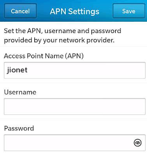 Jio APN Settings Blackberry 10