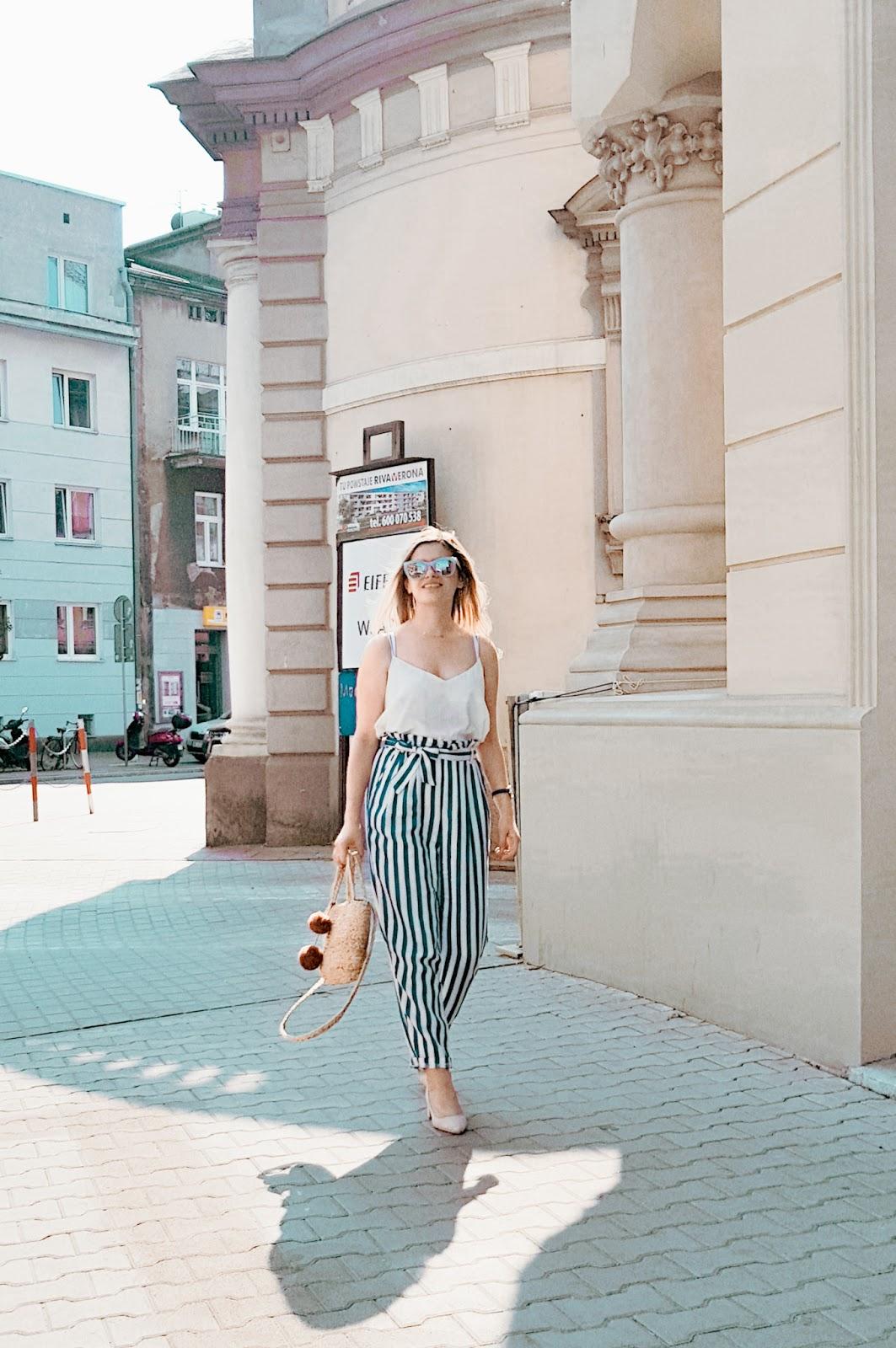 Spodnie w pasy stylizacja