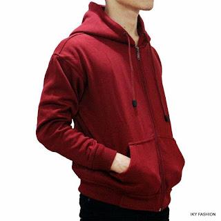 model Jaket Sweater Merah Maroon Misty kekinian cewek dan cowok
