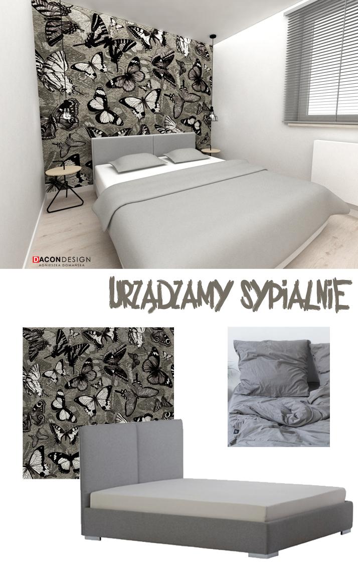 Dacon-Design-architekt-sypialnia-tapeta-motyle-stolek-lampa-biurko-kubik