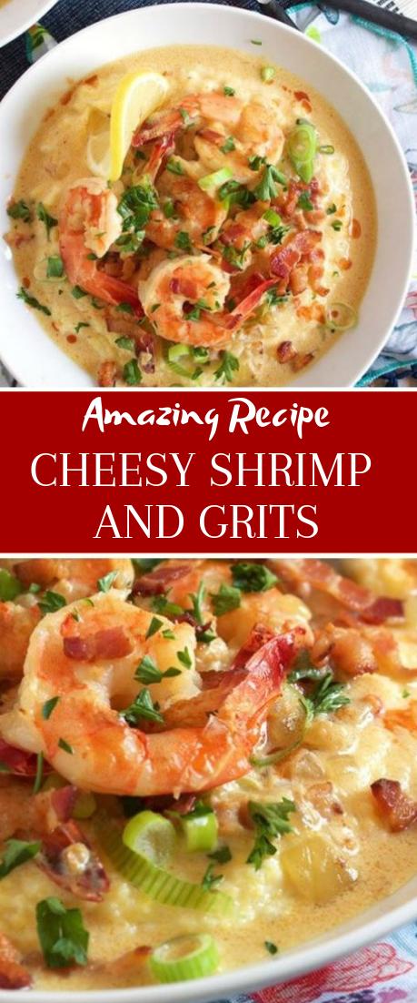CHEESY SHRIMP AND GRITS #dinnerrecipe #food
