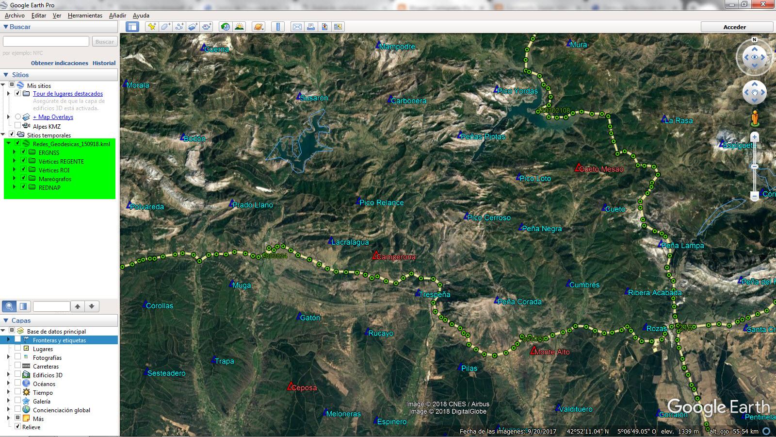 archivo redes geodesicas 150918 kmz abierto en gogle earth