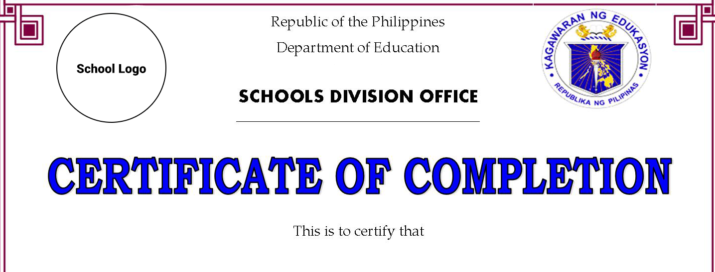 Certificates Of Completion Recognition Templates Editable Deped Lps