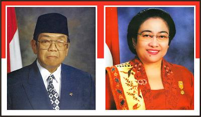 Gambar Presiden K.H. Abdurrahman Wahid dan Wakil Presiden Megawati Soekarnoputri