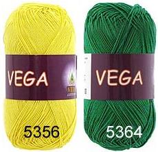 пряжа Vita cotton VEGA желтый зеленый