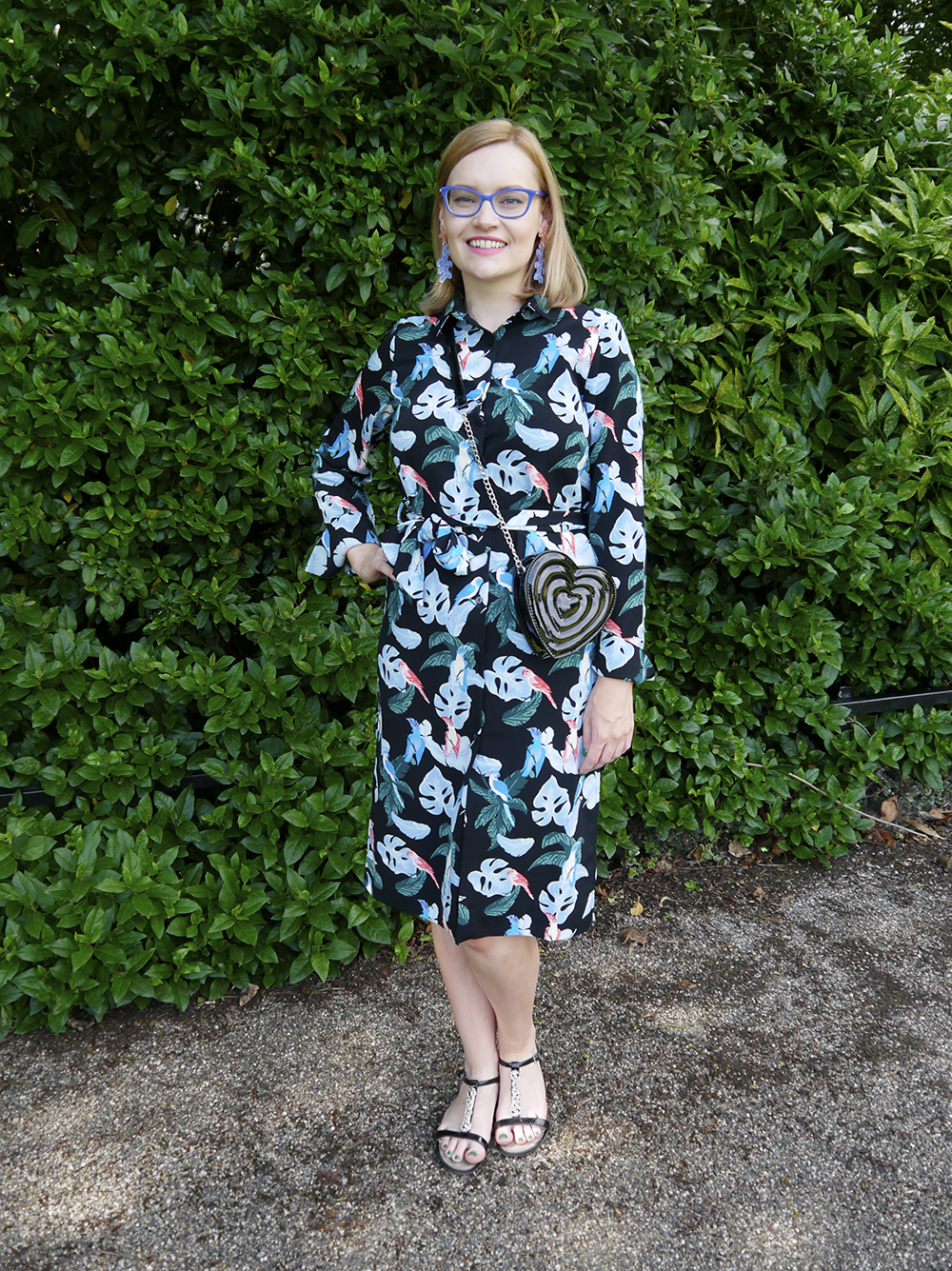 Strong tropical vibes with palm Monki leaf shirt dress styled for Scottish weather