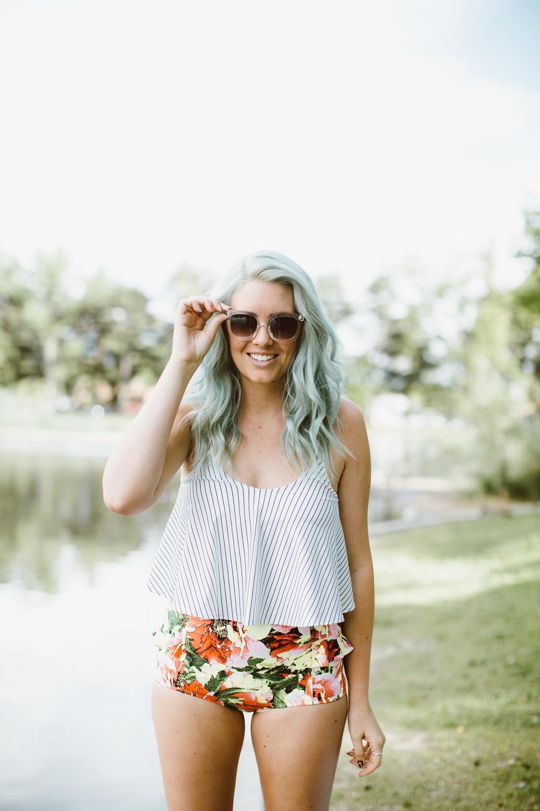 Mint Hair, Floral Swimsuit, Striped Swimsuit