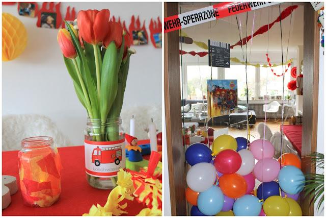 Feuerwehr Geburtstag Kindergeburtstag Feuerwehrmann Sam Jules kleines Freudenhaus Tischdeko Ballons