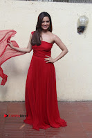 Actress Sana Khan Latest Pos in Georgius Spicy Red Long Dress at the Interview  0019.jpg