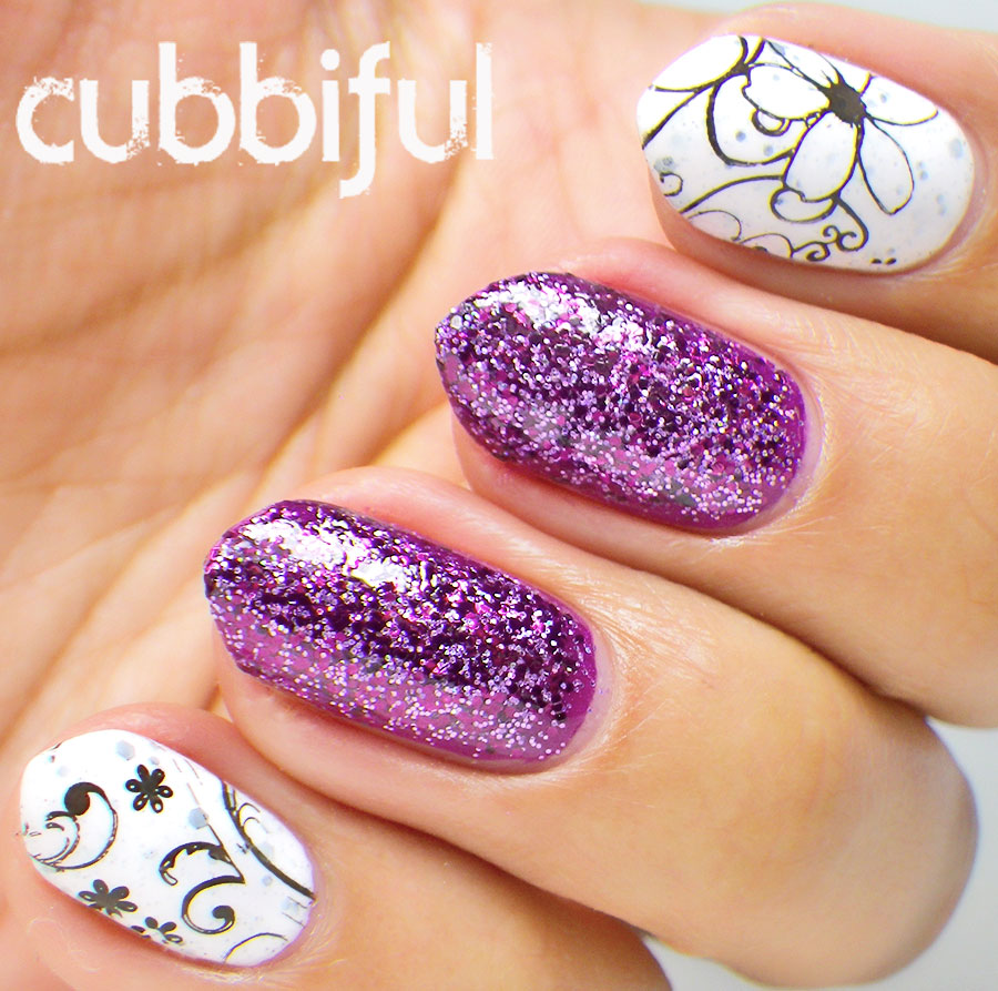 Stamping and Purple glitter nails