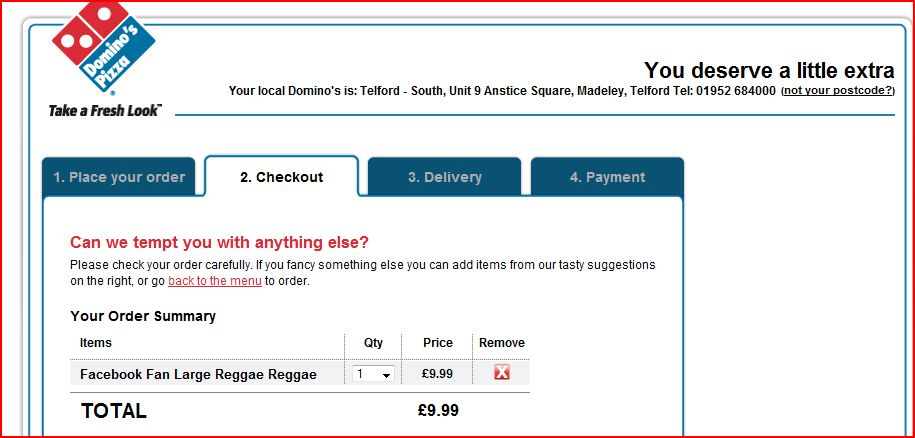 Domino's Pizza Website Order