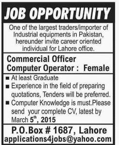 Commercial Officer,Computer Operator Jobs | Lahore Jobs ~ Jobs in