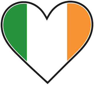 Clipart image of the flag of Ireland in a heart shape
