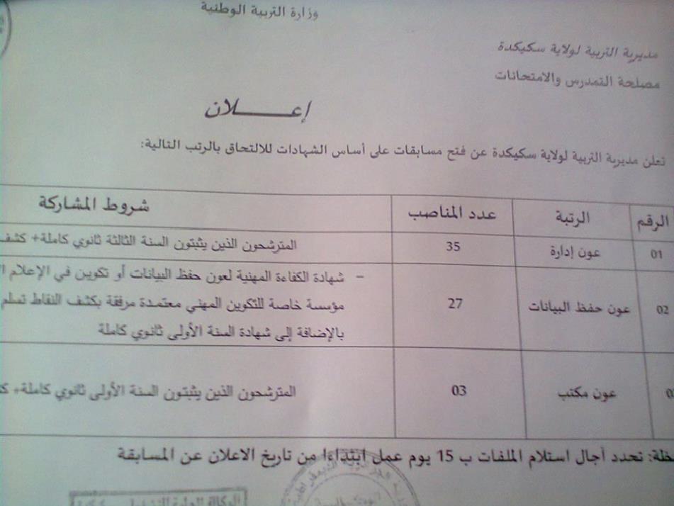 توظيف اداريين بمديرية التربية لولاية سكيكدة