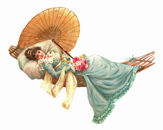 Antique illustration of a young woman with brown hair in an up-do wearing a teal Edwardian period dress.  She is holding a paper parasol and a bundle of flowers while laying in a hammock with an over-sized pillow.
