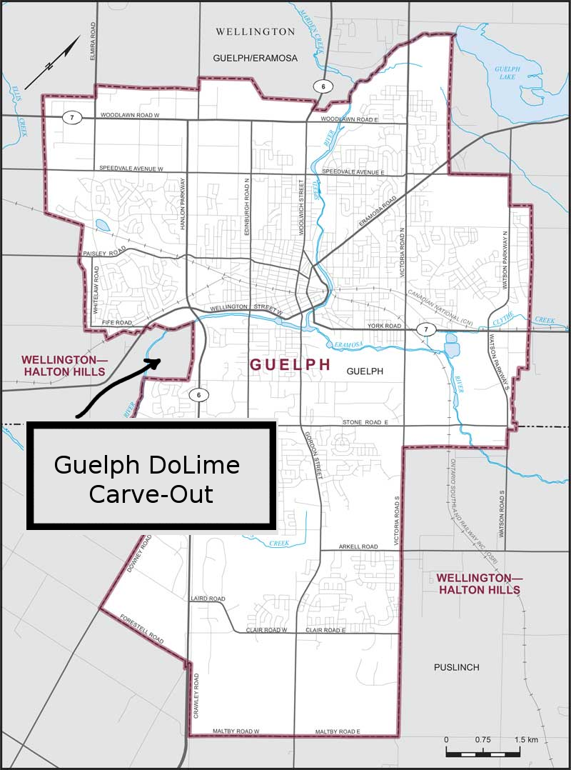 boundary map city of guelph original map from elections canada minor modification by author