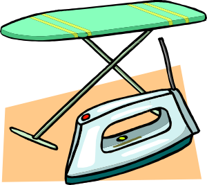 Green ironing board with iron clipart