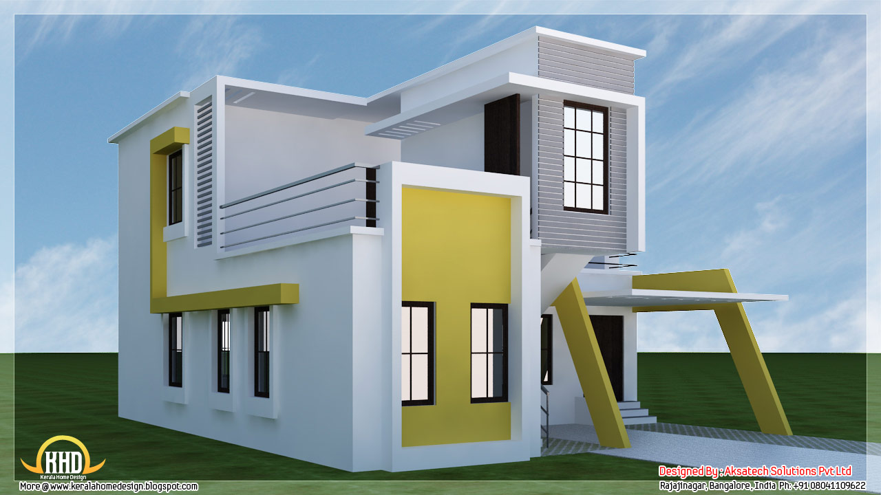 5 beautiful modern contemporary house 3d renderings for Small house elevation in india