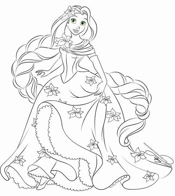 Tranh tô màu nàng công chúa tóc mây 04