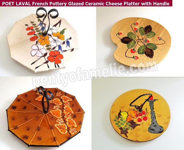 Fall Season French Antique Pottery POET LAVAL Glazed Ceramic Cheese Platters, cake serving plates with Handle