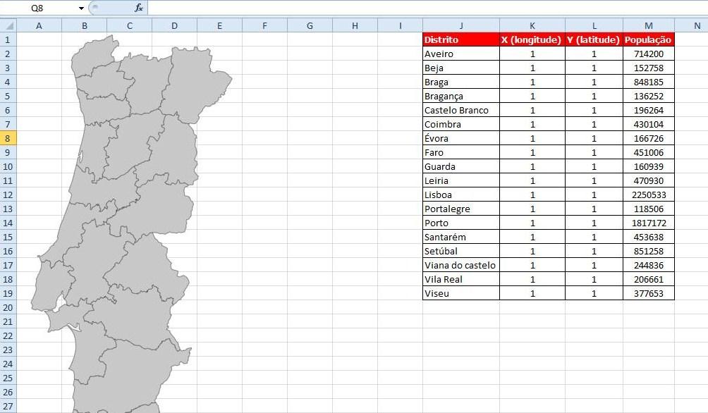 mapa de portugal para preencher E Dicas: Gráfico Bolhas em Excel Mapa de Portugal   Parte I mapa de portugal para preencher