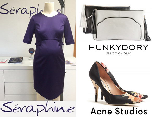 Princess Victoria's SERAPHINE Bespoke Maternity Dress HUNKYDORY Clutch And ACNE Nova Floral Print Shoes