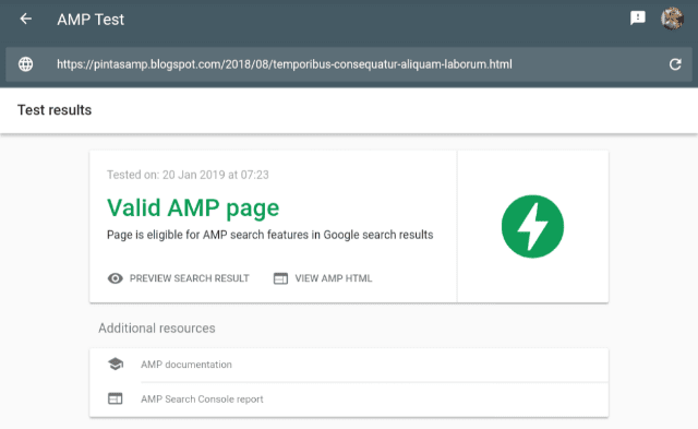 AMP valid Post page