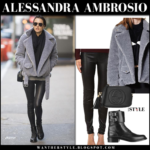 Alessandra Ambrosio in grey boucle jacket storets, leather black pants and black ankle boots saint laurent street fashion february 2018