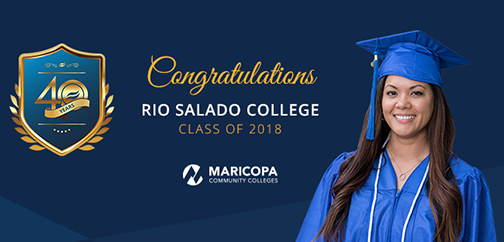 Banner for graduation featuring Jamie Peredo in graduation attire.  Text: Congratulations Rio Salado College Class of 2018