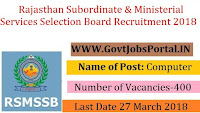 Rajasthan Subordinate & Ministerial Services Selection Board Recruitment 2018– 400 Computer