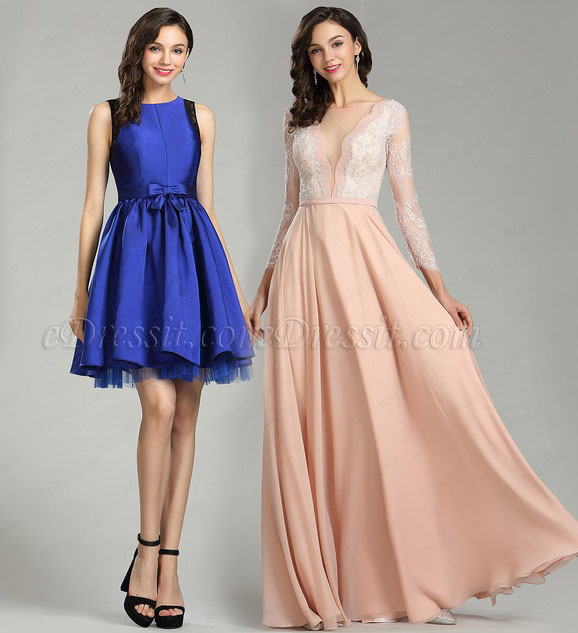 Beautiful Long Sleeve Pink Lace Prom Dress