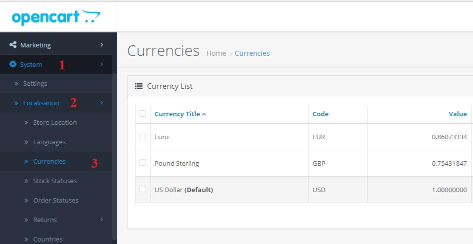 Hướng dẫn thêm tiền tệ VND cho Opencart  3.0.3.0