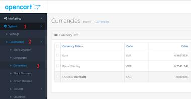 Hướng dẫn thêm tiền tệ VND cho Opencart  3.0.0.0