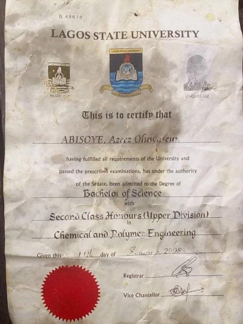 Abisoye Azeez Oluwaseun Degree certificate