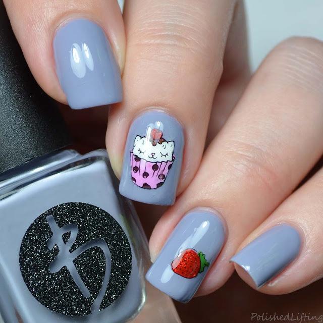 cupcake kitten nail art