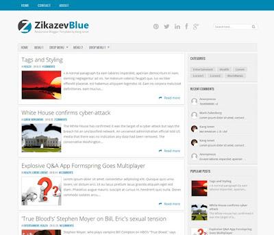 Zikazev Blue Blogger Template Responsive