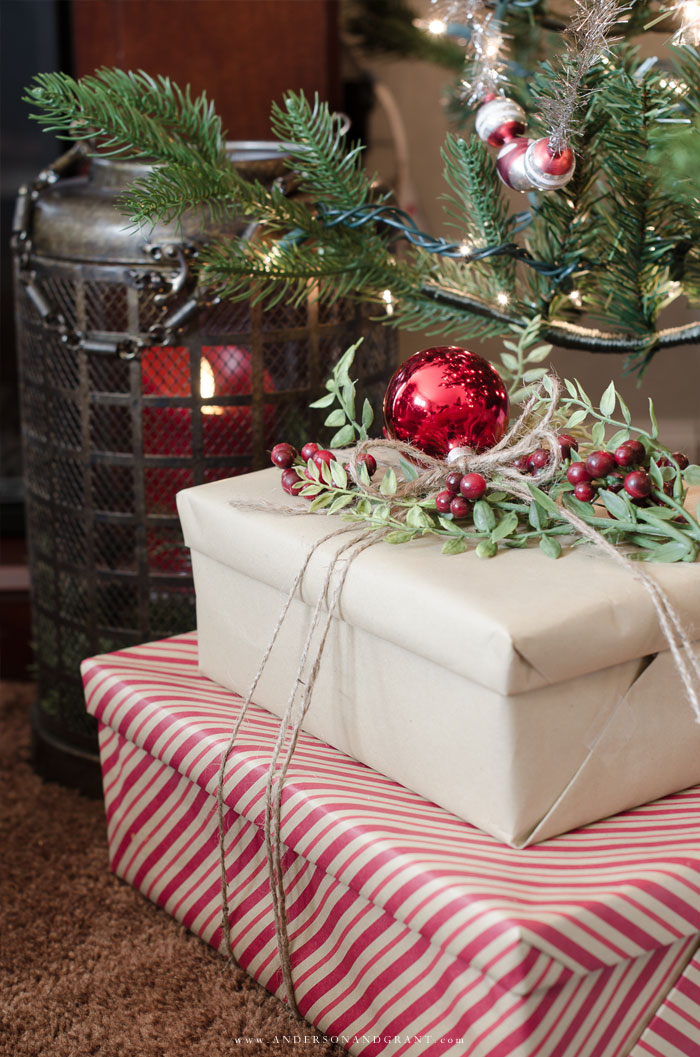 Christmas decorating tips and inspiration featuring a rustic mantel and decorated tree.  |  www.andersonandgrant.com