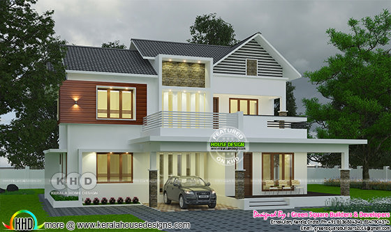 2222 sq-ft modern 4 bedroom cute house