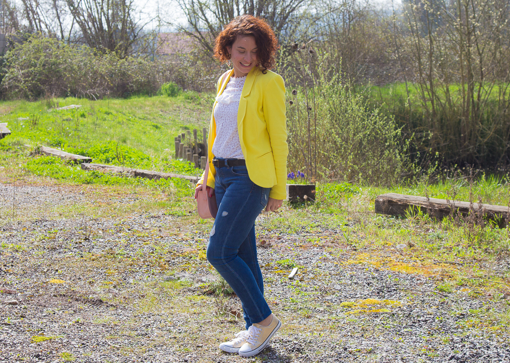 look - jaune - dentelle - printemps - mode
