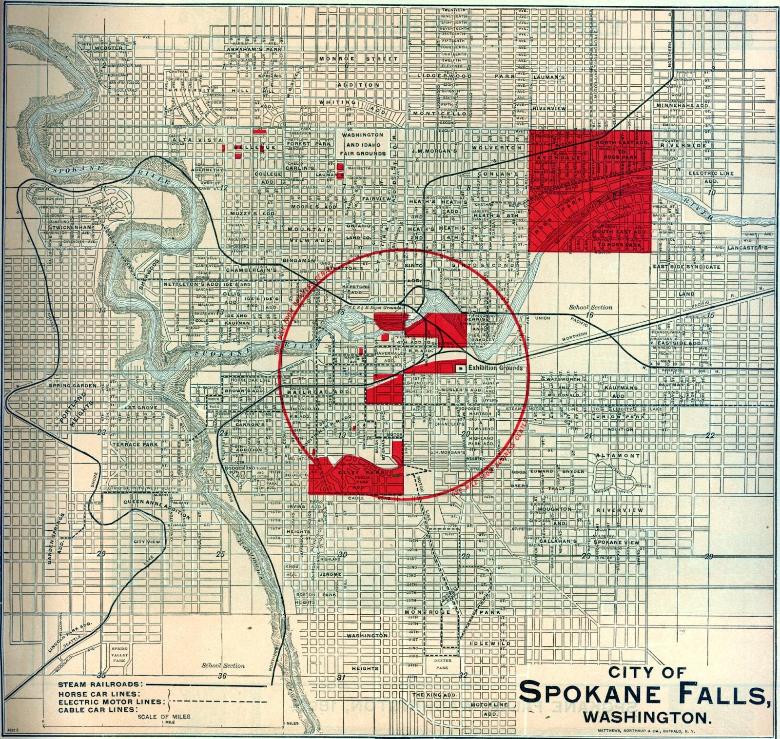Big Bend Railroad History: 1890 Spokane Falls Map-Seattle