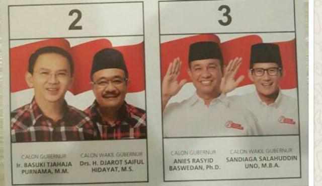 Foto Djarot di Surat Suara Kini Berpeci, Netizen: Umat Islam Sudah Tahu Djarot Munafikun