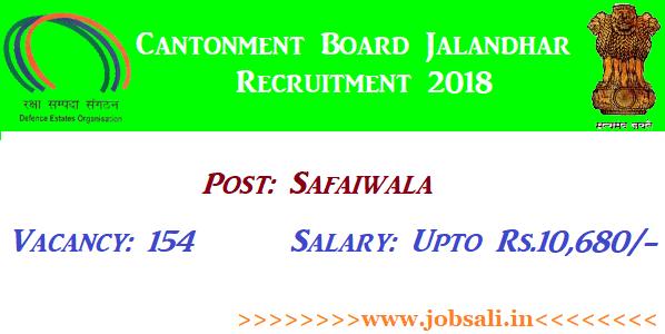 Govt jobs in Punjab, Cantonment board jalandhar Safaiwala Vacancy 2018, Govt jobs for 8th pass