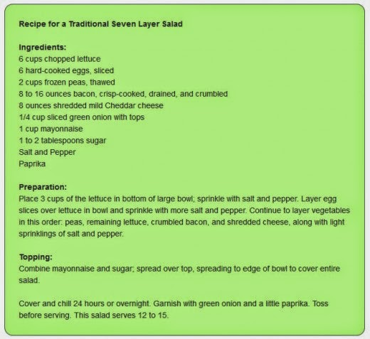 Recipe for a Traditional Seven Layer Salad