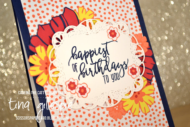 scissorspapercard, Stampin' Up!, CASEing The Catty, Picture Perfect Birthday, Happiness Blooms DSP, Stitched Labels Framelits