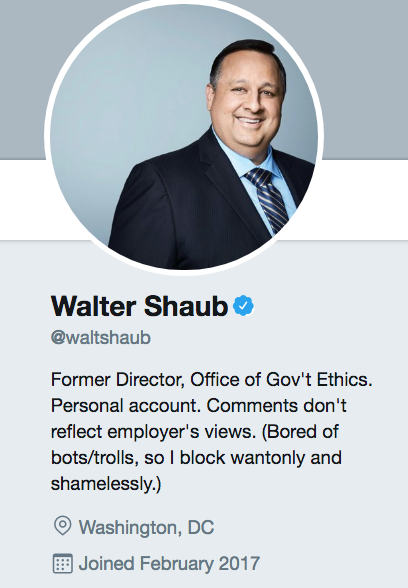 Walter Shaub twitter account. Former director of the Office of Government Ethics