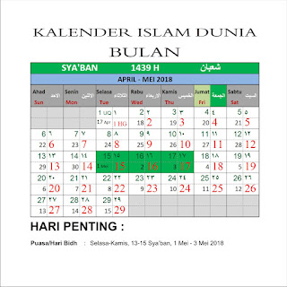 Kalender Islam Bersatu Bulan Sya'ban 1439 H