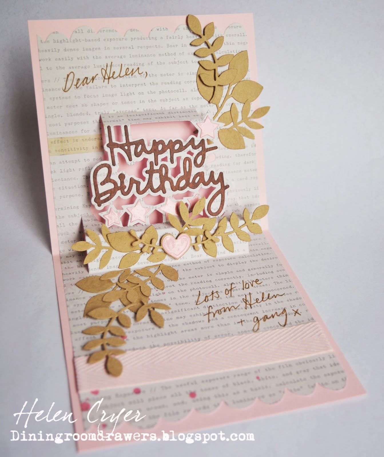 The Dining Room Drawers: Leafy Happy Birthday Pop It Ups Card