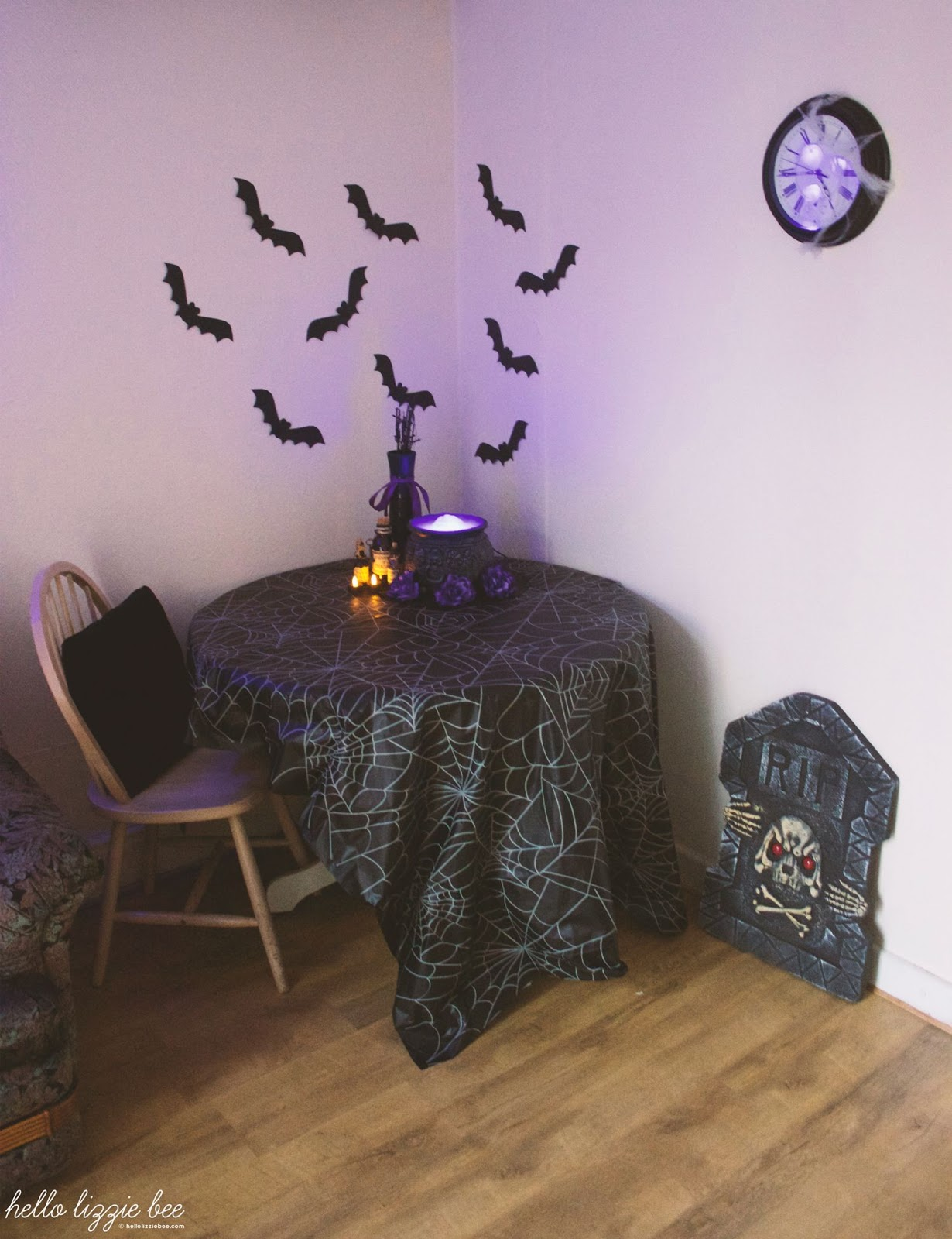 indoor halloween decorations, bats, witchy
